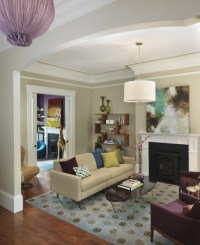 Purple and Beige Living Room - Contemporary - living room ...