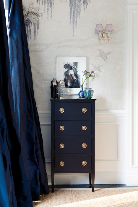 living rooms - blue silk drapes navy blue chest dresser jute rug gray blue wallpaper  Windsor Smith  blue living room design with bold blue silk