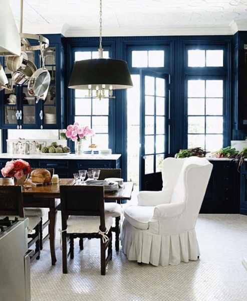 dark navy blue kitchen walls Wingback Chairs for Dining Room - Eclectic - dining room