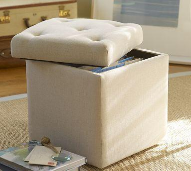 Alison Upholstered File Cube  Pottery Barn