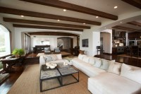 Exposed Wood Beams Ceiling - Transitional - living room ...