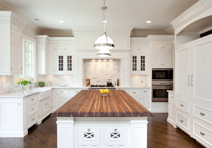 White Country Kitchen With Butcher Block