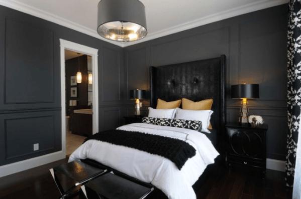 masculine bedrooms black bed Black Leather Headboard - Contemporary - bedroom - Atmosphere Interior Design