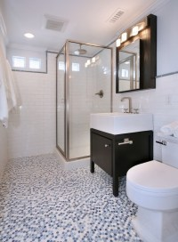 Mosaic Penny Tile Bathroom Floor Design Ideas