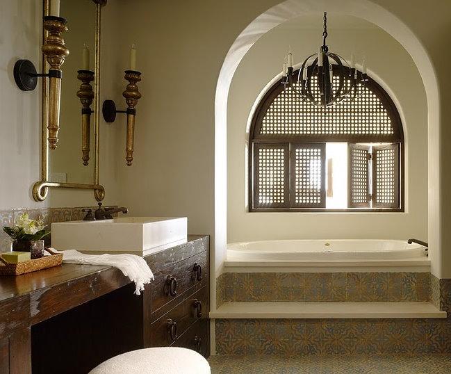 Moroccan Bathroom  Mediterranean  bathroom  Kara Mann
