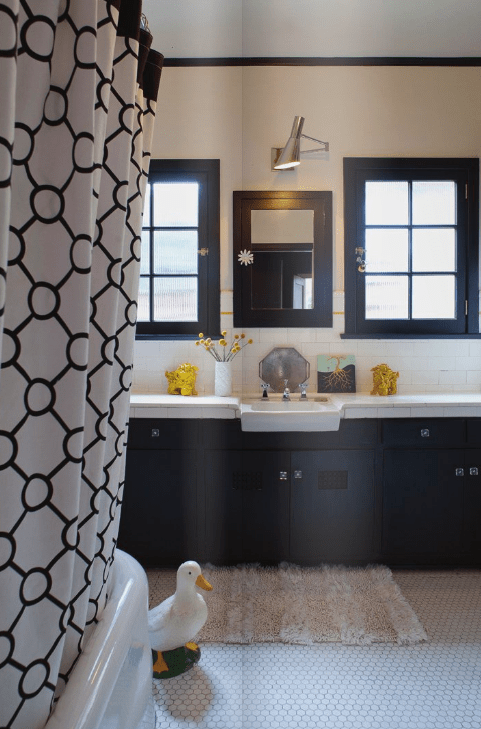 Black and White Shower Curtain  Eclectic  bathroom