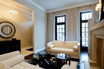 living room ideas with black leather sofas curtains for cornice box - transitional