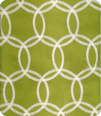 LS Fabric Green Ivory Circles Fabric