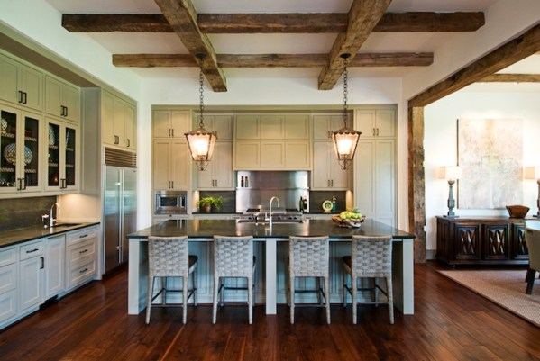 open kitchen with ceiling beams Exposed Wood Beams Ceiling - Transitional - kitchen - Dillon Kyle Architecture