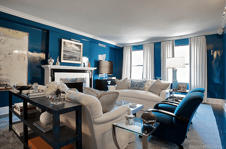blue walls living room colors for in lacquered contemporary christina murphy
