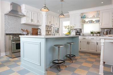 blue kitchen island refurbished appliances cottage sarah richardson design