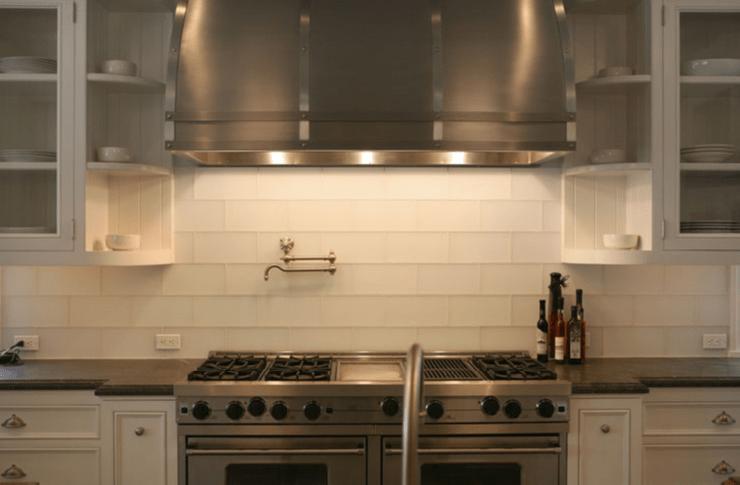White Glass Subway Tiles  Transitional  kitchen