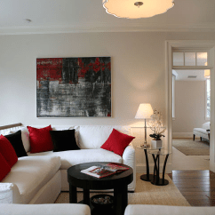Red White And Black Living Room Ideas Small Fireplace Decorating Second Floor Family Transitional Giannetti Home