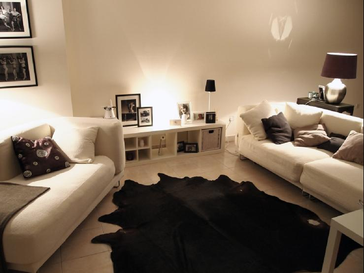 Black Cowhide Rug Contemporary Living Room