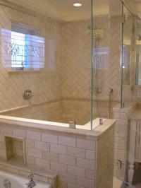 Herringbone Shower Surround - Transitional - bathroom ...