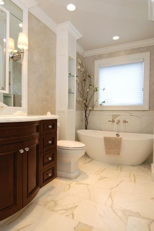 Calcutta Marble Floor  Transitional  bathroom  AMI Designs