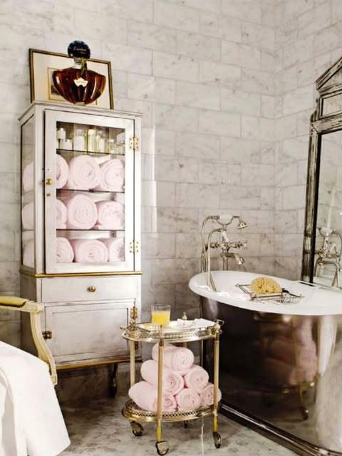 Pharmacy Bath Cabinet  French  bathroom  House Beautiful