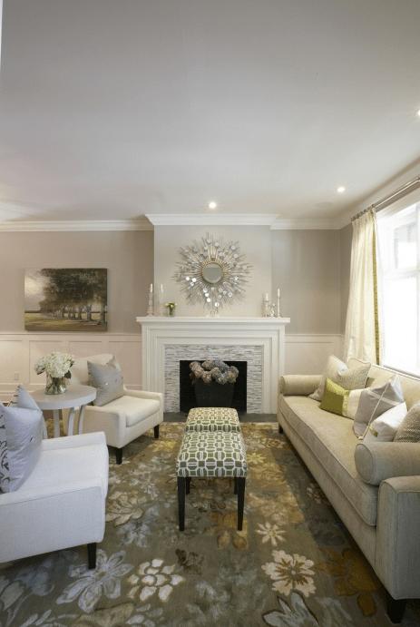 Gray Walls Transitional Living Room Pratt And
