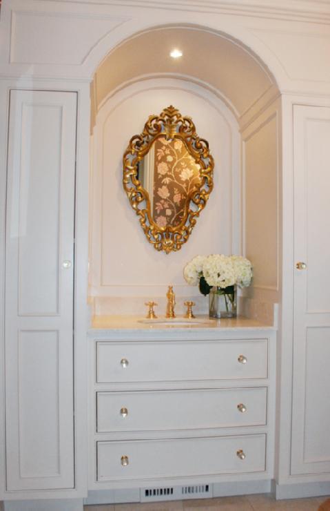 Ornate Gold Mirror  French  bathroom  Benjamin Moore