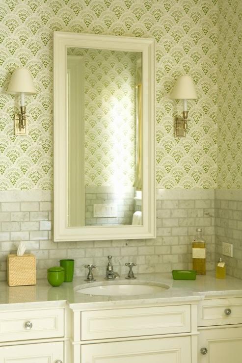 White Carrera Marble Countertop  Transitional  bathroom  Katie Rosenfeld Design