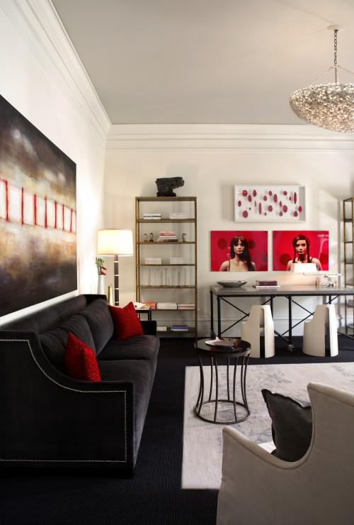 Black Velvet Sofa  Contemporary  living room  Dillard