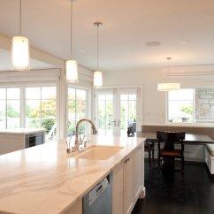 Banquette Kitchen Concrete Island Transitional Paul Moon Design