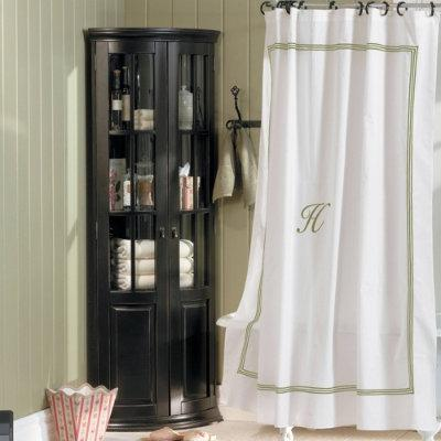 Monogrammed Shower Curtain  Sage Stripe  Ballard Designs