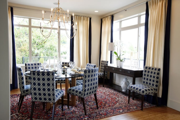 navy blue wingback chairs wrought iron patio chair dining - transitional room sarah richardson design
