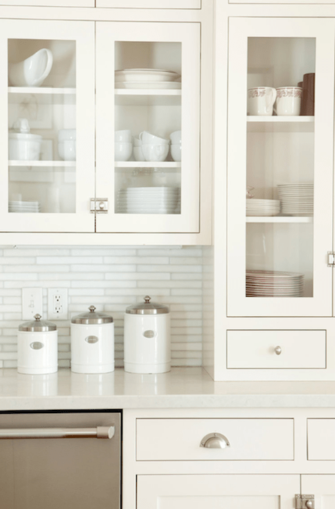 Linear White Glass Tiles  Transitional  kitchen  Ashlee