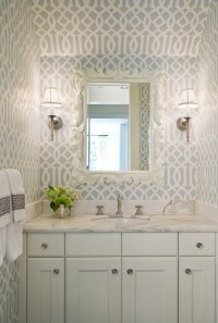 Imperial Trellis Wallpaper - Transitional - bathroom ...