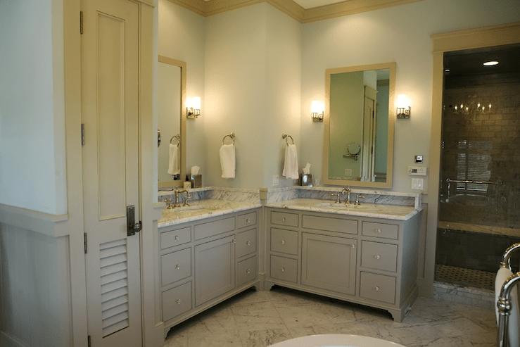 Adjacent Vanities  Cottage  bathroom  Urban Grace Interiors