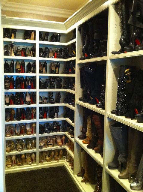 closets - shoe closet built-in shoe boot shelves  Khloe Kardashian's Shoe Cloet  Amazing shoe closet with built-in shelves.