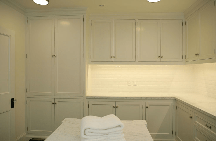 White Laundry Room Cabinets  Transitional  laundry room