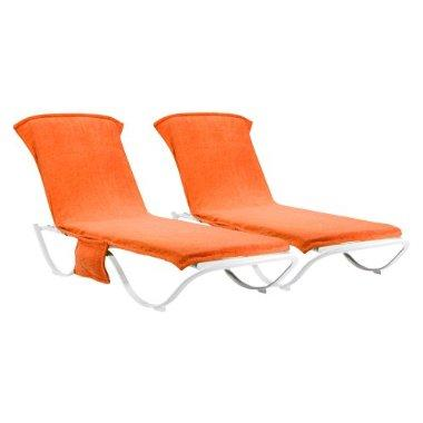 Outdoor Patio Orange Chaise Lounge Towel Cover  Set of 2