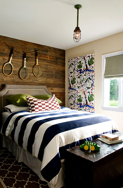 Wood Accent Wall  Cottage  boys room  Jute Interior Design