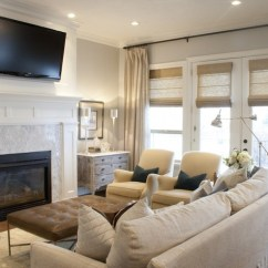 How To Arrange Living Room With Tv Above Fireplace Red Black And Gold Over Transitional Alice Lane Home