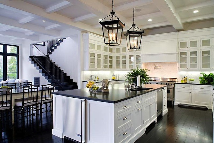 kitchen lanterns small cabinet black and white transitional