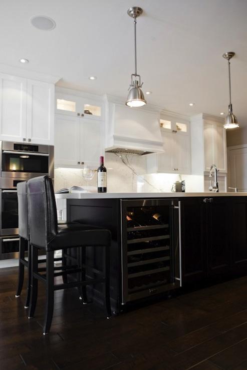 Wine Fridge in Island  Transitional  kitchen