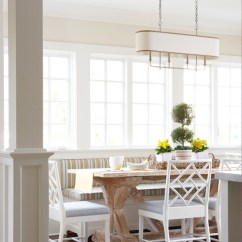 Hickory Chair Banquette Ergonomic Standing Striped Cottage Dining Room Muse Interiors