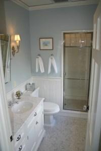 White and Blue Bathroom - Transitional - bathroom ...