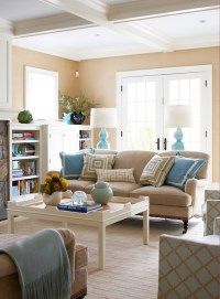 Brown and Turquoise Living Room - Contemporary - living ...