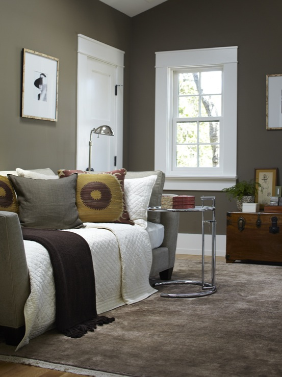 Taupe Paint  Contemporary  bedroom  Benjamin Moore