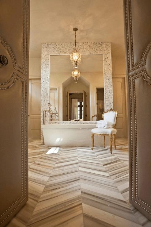 Marble Herringbone Bathroom Floor Design Ideas