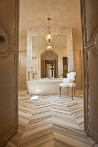 Marble Herringbone Bathroom Floor Design Ideas