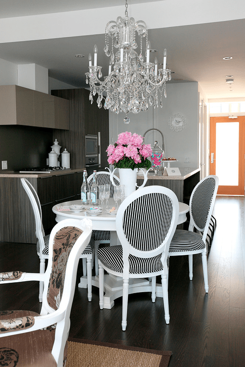 Black And White Dining Chairs Contemporary Dining Room