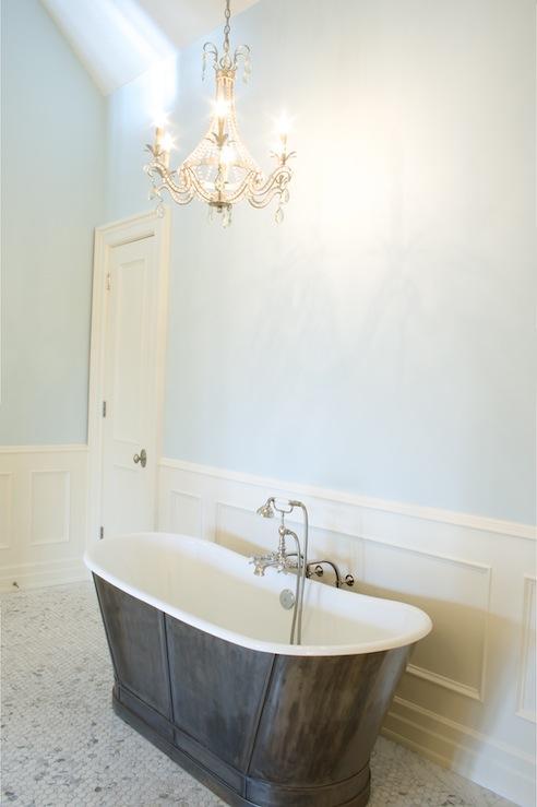 Chandelier Above Bathtub Transitional Bathroom Tiek