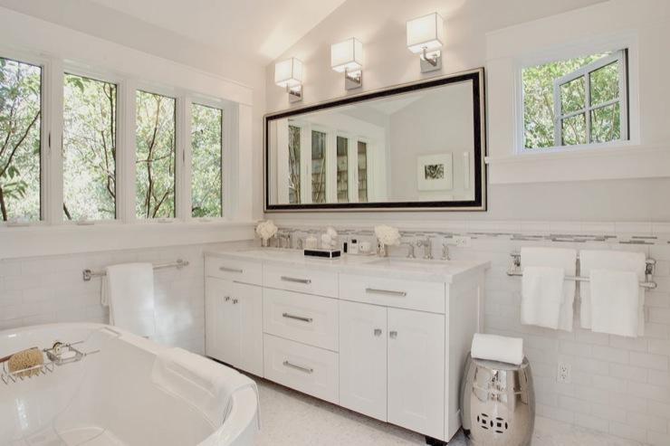 Carrara Marble Backsplash  Transitional  bathroom  Urrutia Design