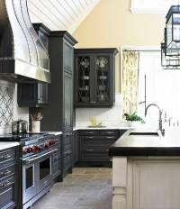 Dark Gray Kitchen Cabinets - Transitional - kitchen ...