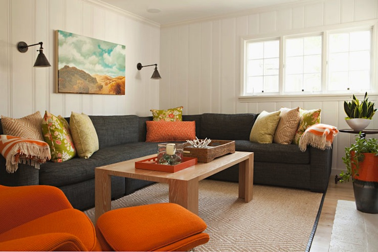 orange fabric sectional sofa gray pit charcoal - contemporary living room ...