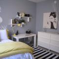 Yellow and gray bedroom contemporary bedroom benjamin moore pigeon